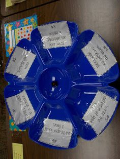 I purchased a chip and dip tray from the dollar tree and turned it into a vocabulary center. In each section of the chip section is an activity. Each of them are numbered. The students rolls a dice in the middle and complete the activity that matches what they rolled. They then write their answer on the recording sheet. You can grab a free copy of the recording sheet.