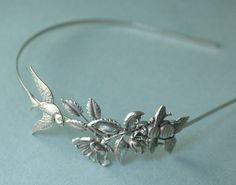 Bird and bee headband bridal garden leaf head piece by mylavaliere