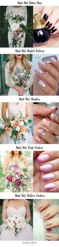 Wedding Nail Art // Bridal Nail Art // Nail Art Inspiration // Nail and Bouquet #nailert #nails