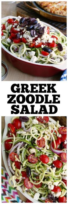 A Greek Zoodle Salad is a twist I u u uon the traditional Greek salad made by swapping the lettuce for raw spiralized zucchini noodles! Zoodle Recipes, Spiralizer Recipes, Veggie Recipes, Low Carb Recipes, Vegetarian Recipes, Cooking Recipes, Healthy Recipes, Vegetarian Tapas, Tapas Recipes