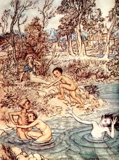 Illustration by Arthur Rackham, from the book 'The Little Mermaid – The Golden Age of Illustration Series'. http://www.amazon.com/gp/product/144746317X/ref=as_li_tl?ie=UTF8&camp=1789&creative=9325&creativeASIN=144746317X&linkCode=as2&tag=reaboo09-20&linkId=FJY33V7VBI4KY7PO