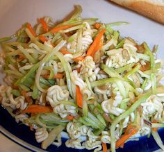 Ramen & broccoli slaw recipe - My mom found this recipe and shared it with me. I have to pass it along--it's the best for starving college kids, especially since an essential ingredient just so happens to be Ramen noodles. Tasty and healthy with all the vegetables involved.