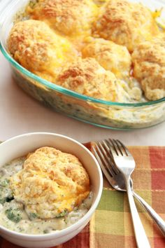 "Broccoli Cobbler- ""This savory cobbler is the perfect easy dinner to make you feel all warm and cozy! It's a lot like broccoli cheddar soup, but thickened up a bit and topped with flakey cheddar cheese biscuits. Then top it off with more cheddar cheese!"" by Half Baked Harvest"