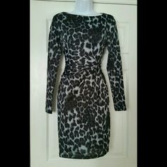 NWT PHILOSOPHY faux wrap leopard print dress New Blueish gray and black faux wrap leopard print dress.  Gorgeous! Tagged XS IMO  would work for a small as well. Philosophy Dresses