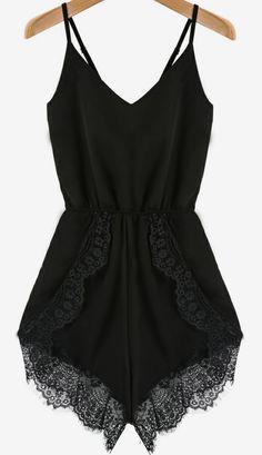 Black Spaghetti Strap Lace Chiffon Jumpsuit