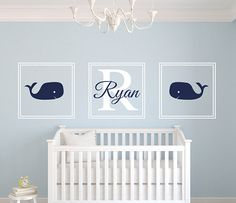 Square Whale Name Wall Decal - This customizable Name Wall Decal is on Sale right now!! Check it out!!