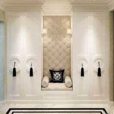 """""""In a world full of trends I want to remain a classic. #theme #elegance #appreciationofdesign #closet #love .I Am in aaaw of the stylish #tassels #knobs who all wish to have a closet like this ? #wardrobe #closet #white #fabricpanelling #tassels #chesterfeild #lights"""