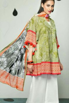 From Nishat Linen's Sawan Collection. This beautifully coloured frock comes with bright orange pompom-lined sleeves and a matching printed chiffon dupatta - love! Fabric: Texture cambricStyle: Pleated frock Printed/Embroidered: our stock is . Simple Pakistani Dresses, Pakistani Fashion Casual, Pakistani Dress Design, Pakistani Outfits, Indian Fashion, Ethnic Fashion, Stylish Dresses For Girls, Stylish Dress Designs, Frocks For Girls