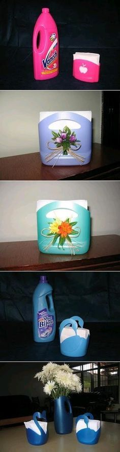 Make a pretty napkin holder from an empty plastic bottle. Wonderful inspiration by UsefulDIY.