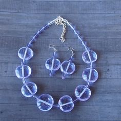 Lilac Lampwork Glass Necklace and Earring Set by LaSistaBeads