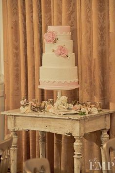 Ivory and pink cake on rustic table  Fondant Cakes « Sweet & Saucy Shop