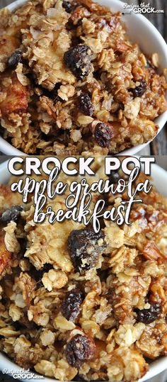 This Crock Pot Apple Granola Breakfast is a yummy way to start you morning! Not only is it easy, it will be loved by everyone!(Healthy Recipes Crock Pot)