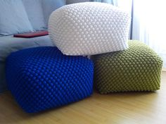 Knitted Ottoman, Knitted Pouf, Round Ottoman, Wool Yarn, Grey And White, Bean Bag Chair, Turtle, Blue Green, Beige