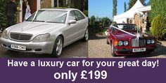 Have a #luxury car for your #wedding day! Only £199 !    For more information on this offer visit http://www.ukweddingsavings.co.uk/offer-details.php?category=transport=Surrey    To enquire, please call 01702 256 034 or email us with your name and number and we will phone you.  enquiries@ukweddingsavings.co.uk    LIKE our Facebook Page   www.facebook.com/ukweddingsacings    FOLLOW us on Twitter  www.twitter.com/ukweddingsaving