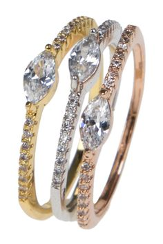 CZ By Kenneth Jay Lane Multi Tone Marquis CZ Stackable Ring - Set of 3
