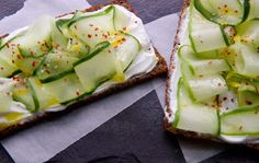 Kefir Toast with Cucumber Ribbons and Chile Flakes