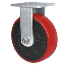 "PU on iron caster wheel,Cast Iron pu caster wheel,Rigid pu caster wheel,fixed caster wheel  Wheel Material:TPU  Size:6"" x 75mm ; 8"" x 75mm ; 10"" x 75mm  Loading Capacity:1300kg-1500kg  Bearing Type:Dual Ball Bearing  Type Optional: Rigid,Plate Swivel  Used as: container caster wheel,heavy duty caster,plant trolley caster,washing machine caster wheel"