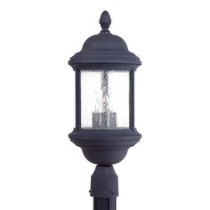 The Great Outdoors GO 9016 3 Light Post Light from the Hancock Collection Black Outdoor Lighting Post Lights Single Head Post Lights Outdoor Post Lights, Outdoor Lighting, Pathway Lighting, Tommy Bahama, Lantern Post, Candelabra Bulbs, Minka, The Great Outdoors, Clear Glass