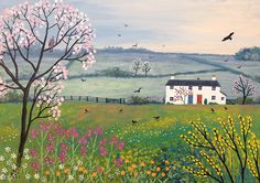 Jo Grundy - Cottages by Spring Meadow - acrylic on a 14 x 10 inch standard canvas