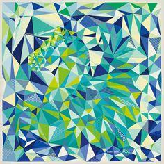 "Hermès - Scarf 90 in silk twill ""Les facéties de Pégase"" by Dimitri Rybaltchenko. Blue green aqua teal turquoise"