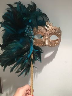Masquerade theme - Mask on a Stick Feather Mask Mardi Gras – Masquerade theme Mascarade Mask, Gold Masquerade Mask, Masquerade Ball Party, Masquerade Theme, Venetian Masquerade, Venetian Masks, Masquerade Party Decorations, Costume The Mask, Halloween Masked Ball