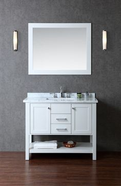 """Ariel SCBAY42S Bayhill 42"""" Free Standing Vanity Set with Wood Cabinet Marble To Cloud Grey Fixture Vanity Single"""