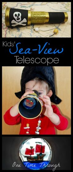 "DIY ""Sea-View"" Kids' Pirate Telescope - moving water scene and perfect for PRETEND PLAY!  {One Time Through} #kidscrafts #pirates #pretendplay"