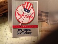 Birthday card for a friend who likes the yankees...logo made with cricut stand & salute, the bat was best of 2008, the font was from quarternote