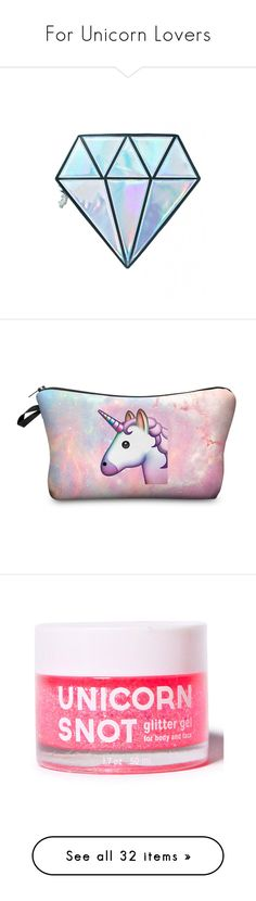 """""""For Unicorn Lovers"""" by kikoonlala ❤ liked on Polyvore featuring beauty products, makeup, makeup tools, makeup brushes, bags, fillers, accessories, beauty, detail and embellishment"""