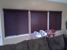 """Customer Robert in KY gave his living room a polished look with Premium 2"""" Faux Wood Blinds in Mahogany."""