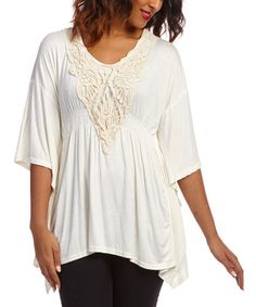 Look what I found on #zulily! White Crochet-Accent Cape-Sleeve Top by Simply Irresistible #zulilyfinds