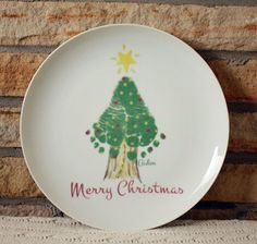 Footprint Christmas Tree Plate