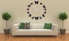 Dizajnové hodiny na stenu - 12 motýlikov - Kliknutím na obrázok zatvorte -