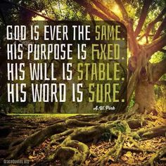 A W Pink: God is ever the same. His purpose is fixed. His will...