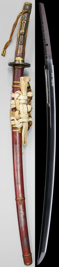 Katana, copy of the sacred sword Genji. Blade length: 63.8 cm. NBTHK:: Tokubetsu-Hozon. Mounted in a tachi koshirae.