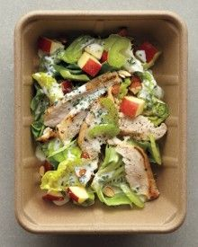 Salad Lunch: You can make your own delicious dressing with low-fat buttermilk, or lighten the richer salad-bar version by adding a dash of lemon juice or vinegar.Calories: 21 g(All nutritional information is approximate. Think Food, I Love Food, Food For Thought, Good Food, Yummy Food, Healthy Salad Recipes, Healthy Snacks, Healthy Eating, Vegetarian Recipes