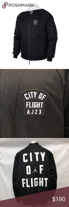a669be1a4a5fc3 Air Jordan City Of Flight Black Bomber Jacket New With Tag See Pictures For  Details. Air Jordan City Of Flight Black   White Bomber Jacket Mens Size  Jordan ...