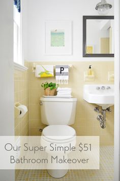 $51 bathroom makeover (lots of cute & easy/cheap ideas)