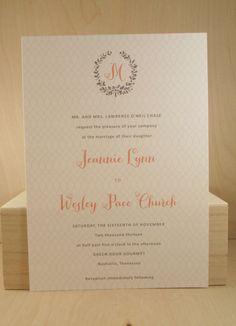 Wedding Suite by Darby Cards / Wreath / Monogram / Printed Invitation Set / Calligraphy / Fun / Modern Pattern / Trellis / Garden Party