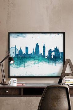London, Art Print, Watercolor, London watercolor, Art, City Illustration, City Wall art, Artwork, London poster, Home Decor, iPrintPoster.