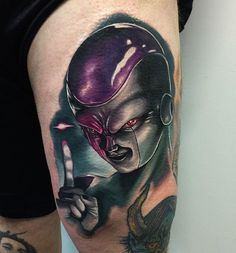 Audie Fulfer Jr. @audie_tattoos make this rad jammer, for those who aren't up to par with your animation this is Frieza from Dragon Ball Z. This gem was made with @eternalink @eternalinkconventions used @fkirons spektraedge and @deathlesscords #bodyart #colortattoo #colortattoos #colorportrait #dbz #dragonballz #eternalink #follow #fkirons #ink #portraittattoo #realistic #tattoo #tattoos #tattooart #tattooartist #frieza #dragonball