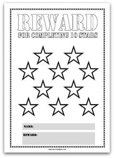 10 Stars Printable Reward Chart in Pink Reward Chart Template, Flash Card Template, Printable Reward Charts, Printable Star, Rewards Chart, List Template, Preschool Reward Chart, Reward Chart Kids, Star Chart For Kids