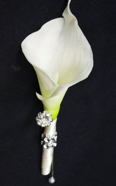 Calla lily boutnniere with crystal detail