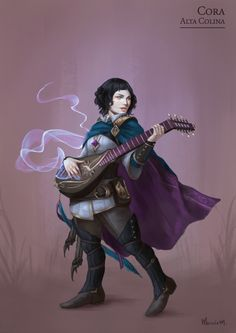 "marcelamedeiros-artsportfolio: "" Cora Alta Colina - Defenders of the Rift A young halfing bard. Struggled with fears in the past, now she uses them against her enemies, making her at same time the cutest and most terrifying member of the party. """
