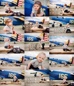 First Year Portraits, one year old boy, airplane themed photo shoot. First Birthday Party Themes, First Birthday Pictures, First Year Photos, 1 Year Baby, Babies First Year, Baby Boy Photos, Baby Pictures, Family Pictures, Toddler Photography
