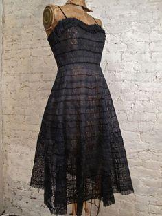 50s Black Silk Cocktail Dress  All Handmade  by ChelseaGirlNYC, $285.00