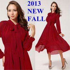 Promotion Christmas Gift 2013 autumn winter New Style fashion elegant slim maxi long chiffon celebrity bow dresses for women red $26.68