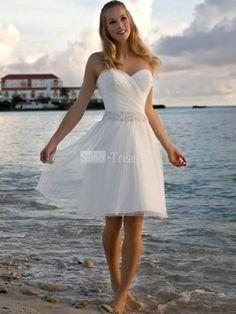 White Sweetheart Ruffle/Beads Satin/Chiffon Short Beach Wedding Dress