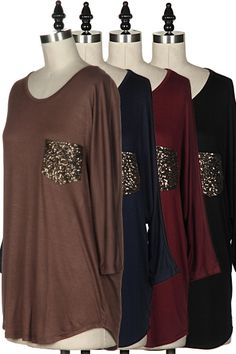 Longsleeve Sequin Pocket Tee - available in black and ivory! Shop at http://www.shopsocialdish.com/products/long-sleeve-sequin-pocket-top