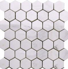 "Majestic Stone - 2"" Hexagon Calacatta Marble Mosaic  Shower Floor"